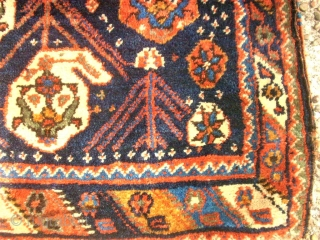 Very old Afshar bags, pair. Size: 60  x 80 cm. Natural colors. Good condition.