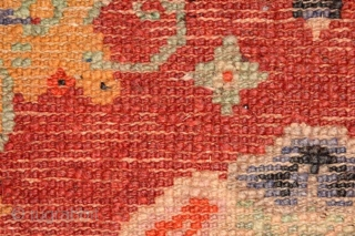 Three panels from what was once a much longer runner made in the Baotou-Suiyuan region of China. Given the outer border design mimics the much loved'tigma' tie-dyed design pattern favoured by Tibetans,  ...