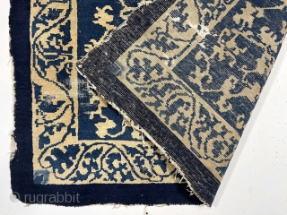 """Antique Chinese rug. Interesting design. In very rough condition as shown. Holes, tears , areas of wear. Nice almost square size. As found in China. Unlike anything I have had before. 4'1""""  ..."""