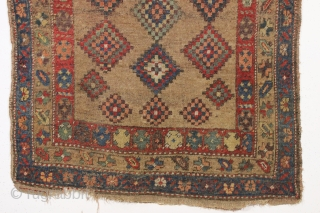 antique camel ground northwest Persian or kurdish rug with an unusual and attractive dazzler design. Fresh New England find. As found, very dirty with allover decent pile but some small damages mostly  ...