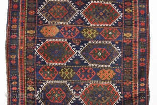 antique good sized kurdish rug. As found, very dirty with all natural colors and allover good pile. Slight corner rounding and a few minor creases as usual in this type. I see  ...