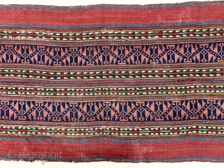 "Antique Persian or Kurdish jajim fragment mounted on linen or cotton backing. Fine weave and beautiful natural colors. Great supple handle. 19th c. 13"" x 33"" not including backing."