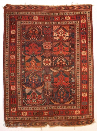 Antique Afshar rug with an attractive classic design. All good natural colors. Allover even low pile with heavily corroded browns. Fancy kelim ends. No repairs. All wool. Reasonably clean. 19th c. rug.  ...