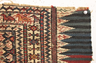 """Old little bag fragment with rows of animals, likely bakhtiari. All natural colors. Charming little weaving. 19th c. 13"""" x 21"""""""