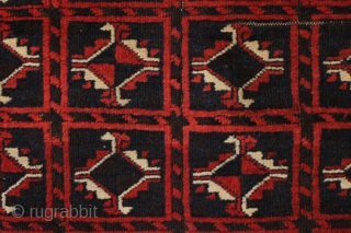 "Old Baluch rug with an interesting design, full pile, and overall very good condition. All good old colors. From a local home, not yet washed. Excellent floor rug. 3""2"" x 5'6""   ..."