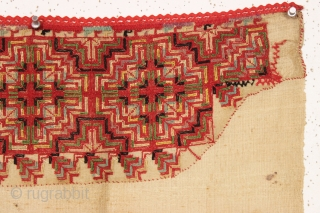 """Interesting mystery textile from a local home. Appears to be reasonably old with all good colors. Decorated area stitched down onto what feels like linen. Attractive object. Linen is 35"""" x 36""""  ..."""