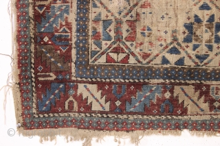 "Early but distressed caucasian prayer rug. Unusual to find some original cotton pile. In ""New England condition"" and priced accordingly. All natural colors. Very dirty. mid 19th c. 3'6"" x 4'2""   ..."