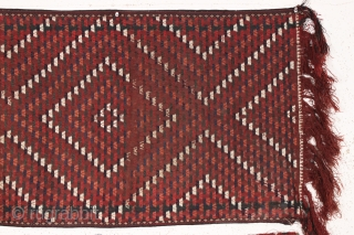 old turkman tent band. This is the oldest of this flat woven type I have encountered. Wider than usual. All natural colors. Supple handle and nice old patina. I assume this is  ...