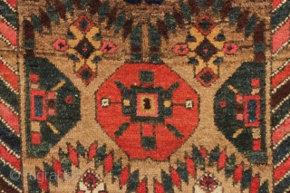 "antique camel ground northwest persian kurdish rug with nice thick high pile. Unusual and interesting design. As found, reasonably clean with no repairs. Colorful. Lovely and usable antique rug. ca. 1890. 4'3""  ..."