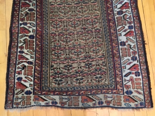 Older northwest Persian or Kurdish runner with camel ground. Overall fair condition with overall even low pile. Good colors. Interesting ivory main border. Little wider at one end. Little wiggly but reasonably  ...