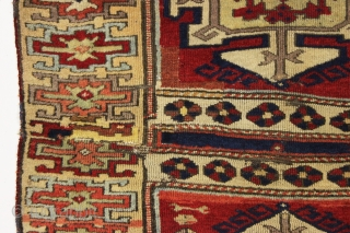 antique east anatolian kurdish rug fragment with archaic drawing and beautiful fleecy wool. All good old natural colors. Lovely soft purples and greens. Original two ends sewn together across the center. Some  ...