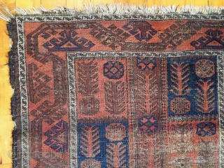 """Old Baluch rug. Unusual and interesting design. Good colors. As found, in poor condition and priced accordingly. 19th c. 3'1"""" x 5'2"""""""