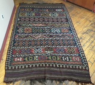 Antique south Persian kelim. All natural colors featuring nice yellows and rich greens. As found, very dirty with mostly good condition but a few small rough spots as shown. Will look terrific  ...