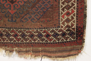 antique little baluch rug. Classic older mushwani type with latch hooked design and all good colors. As found this week, very dirty with allover low pile and a few tiny old holes  ...