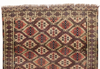 rare antique turkman chodor carpet in reasonably good condition. Unusually small size for a chodor carpet. As found, a bit dirty with mostly decent low pile, scattered tiny old wear spots and  ...
