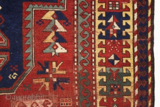 antique large kazak rug with some interesting design features. Appears to have fachralo elements, karachopf elements and a lori pombak motif. The most striking feature however is the unusual and interesting yellow  ...