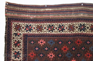 antique baluch rug with very intense color and highest quality weave. Uncommon design. Symmetrically knotted with typical use of many vibrant hues. Probably a synthetic pink. Good even pile with fine weave  ...