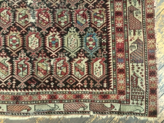 "Antique Caucasian shirvan marasali prayer rug. Iconic border. Genuine example in very dirty, very abused condition. Obvious heavy wear and scattered damage as shown. Not restorable. Priced accordingly. 19th c. 3'6"" x  ..."