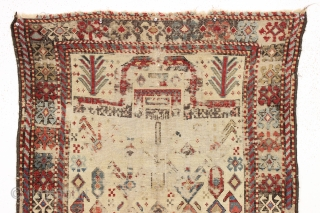 antique akstafa prayer rug. Ghost of a very early example of the type. Extraordinary  drawing and colors. Obvious heavy wear and crude old flat stitch repair and priced accordingly. Reasonably clean  ...