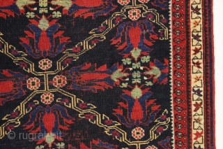 antique small afshar rug with attractive tulip design field. Nice example with all wool foundation. Overall pretty good condition with good even low pile, original selvages and fancy end finishes. All natural  ...