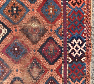 """Antique east Anatolian yoruk rug with classic """"baklava"""" design. Older example in rough condition with fine weave and all natural colors featuring a pretty apricot ground. As found, dirty and in need  ..."""