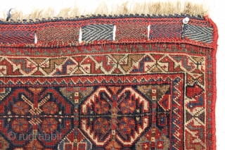 antique south Persian Baseri bagface with iconic design, good colors and fine fine weave. All very nice natural colors with pretty greens and light blues. Even low pile. Original closure tabs. Rewrapped  ...