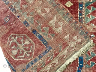 Antique Kazak prayer rug. Older rug in distressed condition with spacious drawing (what there is) and all good natural colors. Ghostly early example in time for Halloween! Priced accordingly. Mid 19th c.  ...