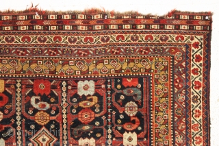 antique little south persian rug in good condition with a very interesting design. An unusual combination of allover field elements and a dramatic ivory medallion. All well saturated natural colors and good  ...