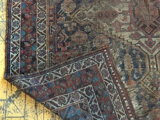 "Back room storage clean out. Old South Persian rug. Dirty, worn, damaged. Priced accordingly. App 4'6"" x 8'"