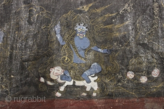"Old painted fragment. Looks tibetan to me. Don't mess with these guys, buy it. 4 1/2"" x 23 1/2"""
