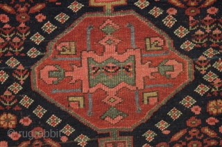 antique northwest persian or kurdish rug. As found, very very dirty but mostly good pile and beautiful all natural colors. Old moth damage in top right corner and a  spot of  ...