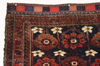 antique large baluch bagface with an older and very beautiful blue ground mina khani field. In full thick pile, nearly original, with no repairs. Appears to have an unusual single wefted structure.  ...