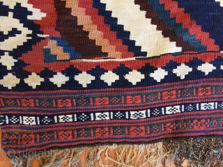 A striking Qashqai Kashkouli bridal kilim original ends ( small stain). Size :4'9'' x 7'4''