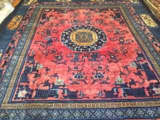 Mid 19th Century Chinese inland carpet 13'- 5'' X 11'- 4''.