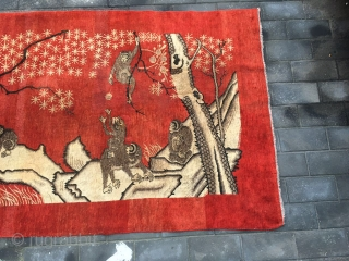 "#1705 Xinjiang rug, It was produecd in Khotan aare in Xinjiang, Pattern with a monkey riding on another monkey on the back (the ""back\""  pronunciation same as ""generation"" in Chinese), it  ..."