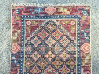 #1637 Ningxia rug, very beautiful full of flower veins with eight treasure selvage. good age and quality.size 130*65cm(51*25'')