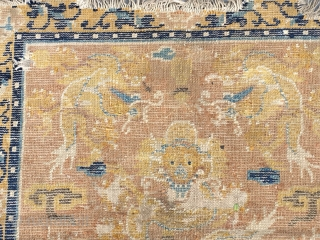"Ningxia rug, camel yellow background with lively five dragons mat, it was produced in Kangxi Dynasty, very good age. Size 67*65cm(26*25"")"
