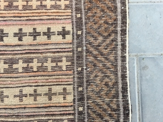 "#2024 Baotou rug, brown background with colorful cross veins , good age and quality. Size 128*76cm(50*30"")"