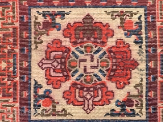 """Ningxia rug, Buddha's warrior attendant's stick pattern, very nice color, good age and condition. Size 65*65cm(25*25"""")"""