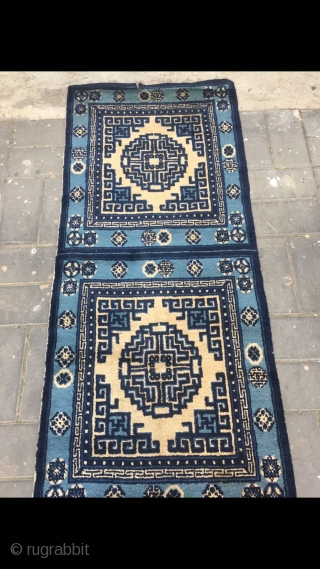 """Chinese Baotou runner rug, blue background with group flower pattern. Six square pieces joint. Good condition. Size 460*75cm(179*29"""")"""