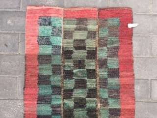 """#2028 Tibet rug, green and black checker pattern with red selvage. Good age and quality. Size 163*75cm(64*29"""")"""