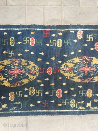 "#2056 Tibet rug, blue background with colorful flower group pattern, around full of Buddha fingers , lucky cloud and flowers veins. Very good age, wool warp and weft, size 151*76cm (59*30"")"