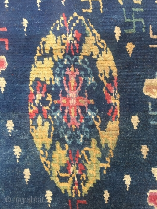 """#2056 Tibet rug, blue background with colorful flower group pattern, around full of Buddha fingers , lucky cloud and flowers veins. Very good age, wool warp and weft, size 151*76cm (59*30"""")"""