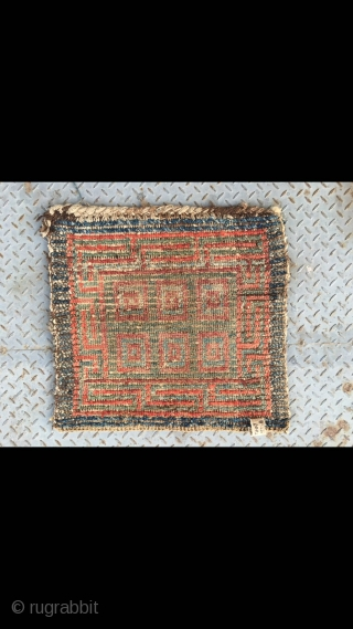 """#2060 Tibet Wangden rug, blue , green and red checker veins, good age and quality, size 56*56cm(22*22"""")"""