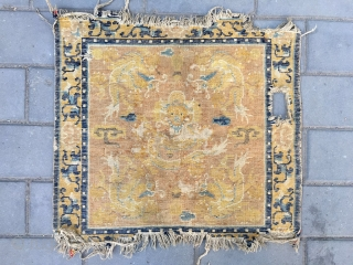 #2062 Ningxia rug, light canmel  background with five lively dragon veins, flower selvage. It was produced in earlier Qing Dynasty .
