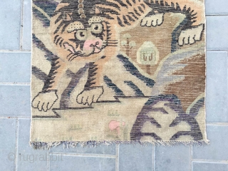 """#2077 Baotou rug. A tiger in mountain pattern. Very nice and lifelike tiger veins, good wool quality. No any repair. Size 143*75cm(size 56*29"""")"""