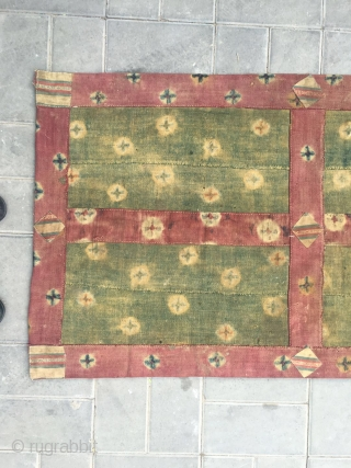 #2076 Tibet door curtain. Full of ball flowers veins. Wollen cloth. Top of have three hanging copper rings made by handicaft. It used in the door of back room. Very good age.  ...