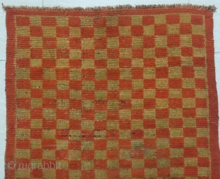 "Tibet rug, red /yellow checker board pattern. Good age and condition. Size 80*150c m(31*59"")"