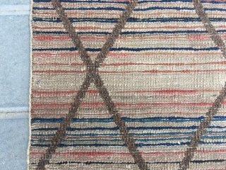 "#2079 Chinese Beijing rug, Color stripe with diamond - shaped cross checker veins. A rare one with very good age. Size 150*75cm(59*29"")"