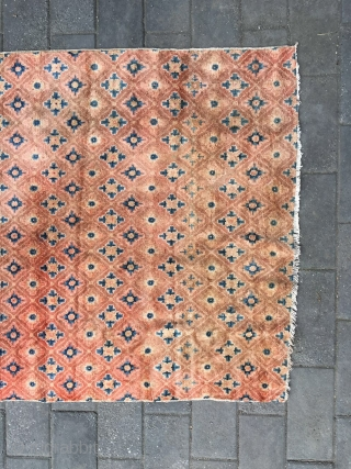 #1720 Suiyuan carpet, red background with full of brocade flowers, very good quality wool,  good age. size 198*110cm(77*43'')